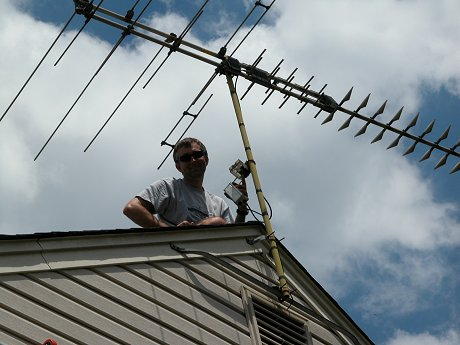 Servicing a TV antenna in Manassas, VA